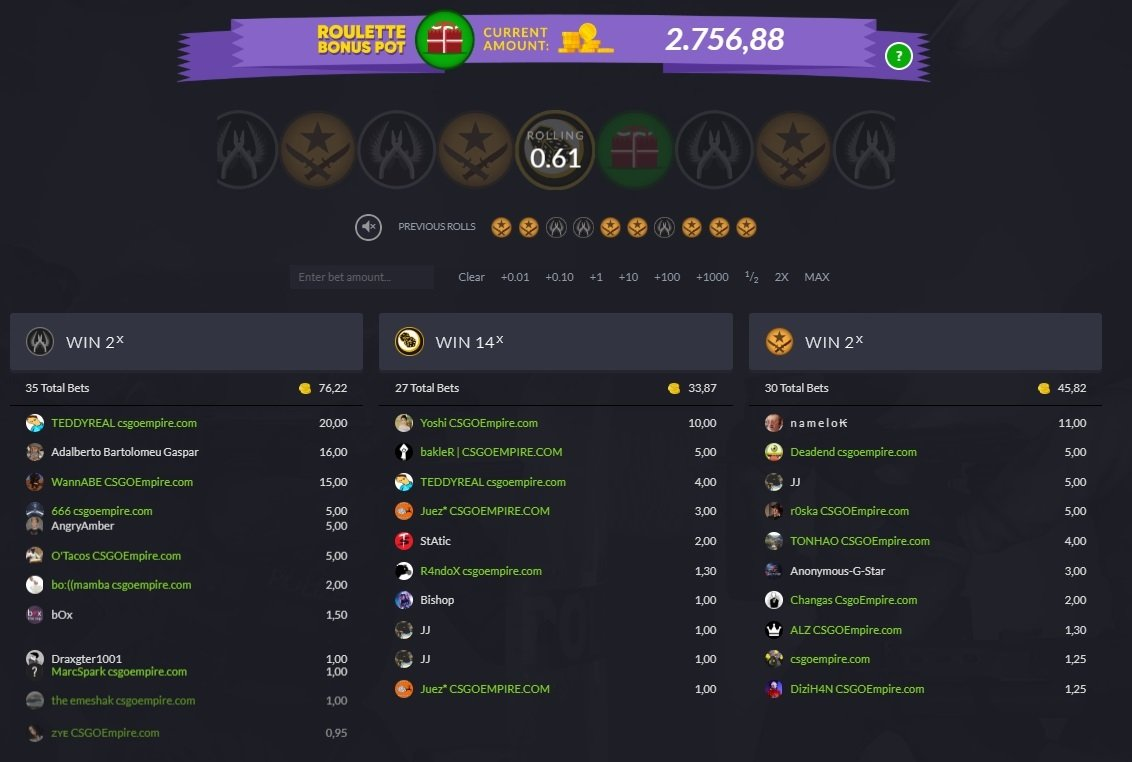 CSGOempire homepage screenshot